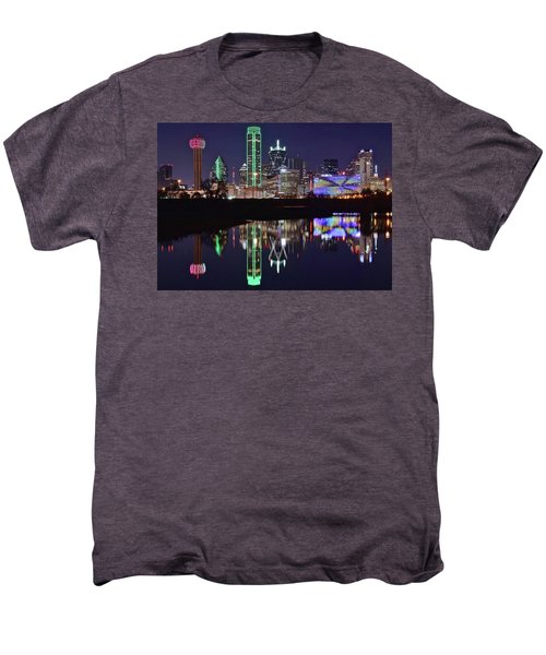 Dallas Reflecting At Night Men's Premium T-Shirt by Frozen in Time Fine Art Photography