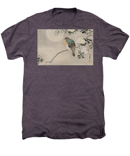 Japanese Silk Painting Of A Wood Pigeon Men's Premium T-Shirt by Japanese School