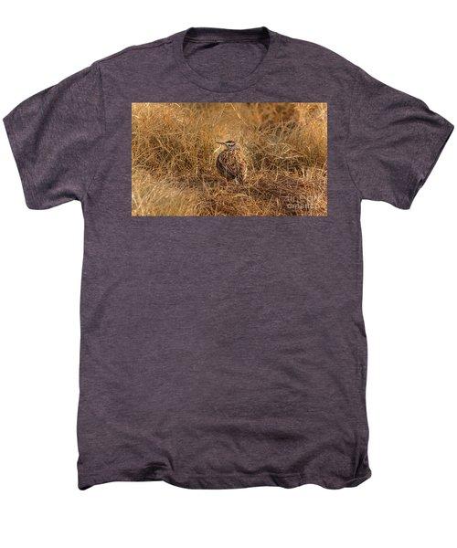 Meadowlark Hiding In Grass Men's Premium T-Shirt by Robert Frederick