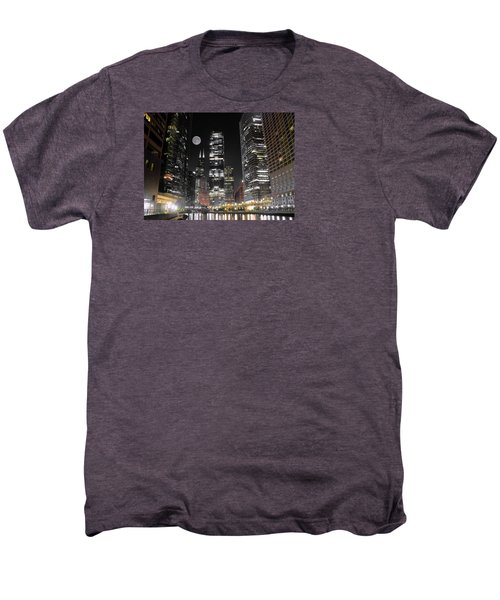 Panoramic Lakefront View In Chicago Men's Premium T-Shirt by Frozen in Time Fine Art Photography