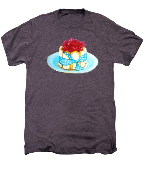 Raspberry Finger Biscuit Dessert Illustration Men's Premium T-Shirt by Sonja Taljaard