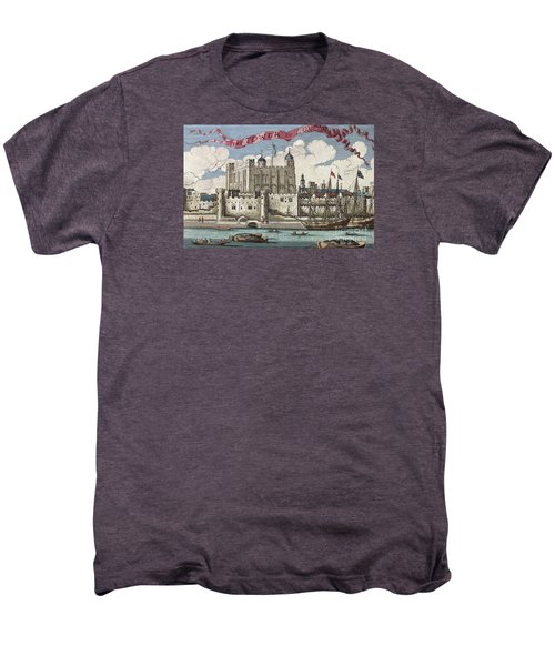 The Tower Of London Seen From The River Thames Men's Premium T-Shirt by English School