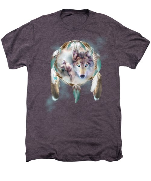 Wolf - Dreams Of Peace Men's Premium T-Shirt by Carol Cavalaris
