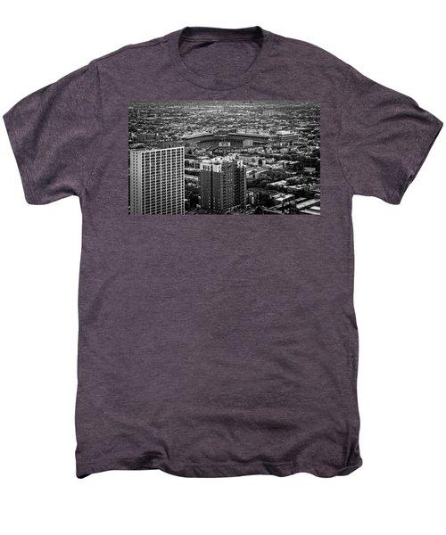 Wrigley Field Park Place Towers Day Bw Dsc4575 Men's Premium T-Shirt by Raymond Kunst