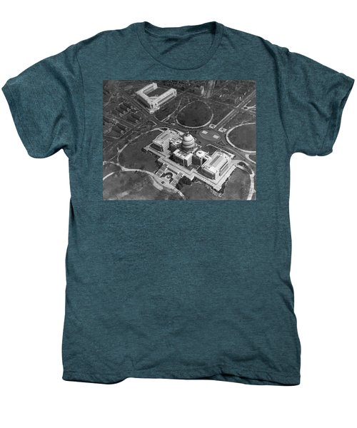 Aerial View Of U.s. Capitol Men's Premium T-Shirt by Underwood Archives