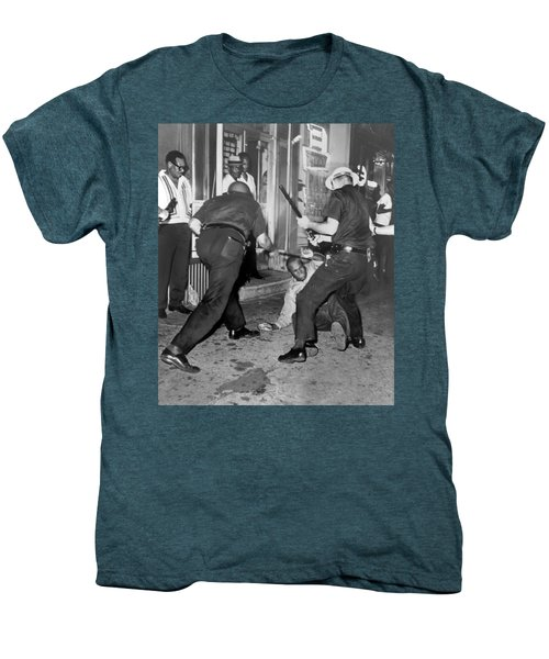 Protester Clubbed In Harlem Men's Premium T-Shirt by Underwood Archives