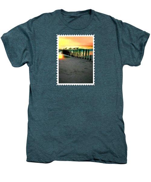 Sea Gulls On Pilings  At Sunset Men's Premium T-Shirt by Elaine Plesser