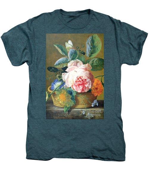 A Basket With Flowers Men's Premium T-Shirt by Jan van Huysum