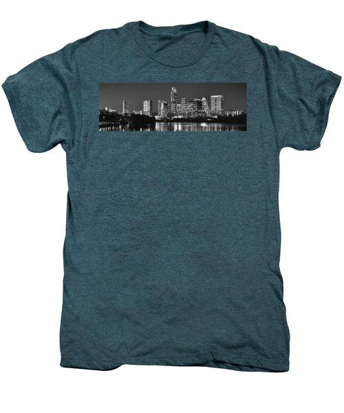 Austin Skyline At Night Black And White Bw Panorama Texas Men's Premium T-Shirt by Jon Holiday