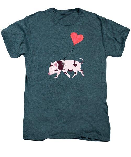Baby Pig With Heart Balloon Men's Premium T-Shirt by Brigitte Carre