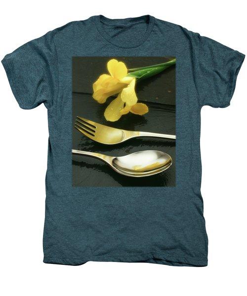 Flowers On Slate Men's Premium T-Shirt by Jon Delorme
