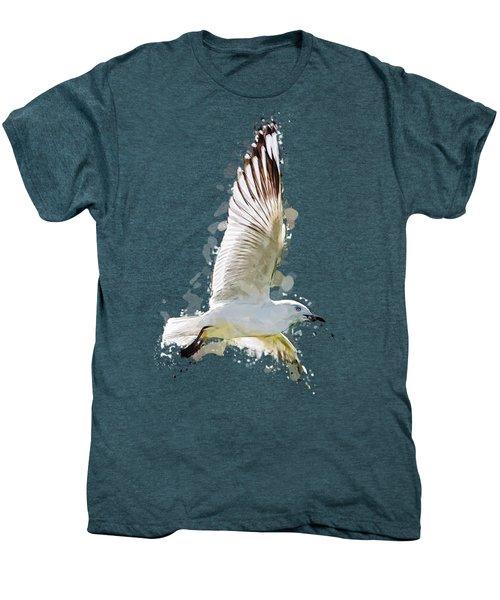 Flying Seagull Abstract Sky Men's Premium T-Shirt by Elaine Plesser