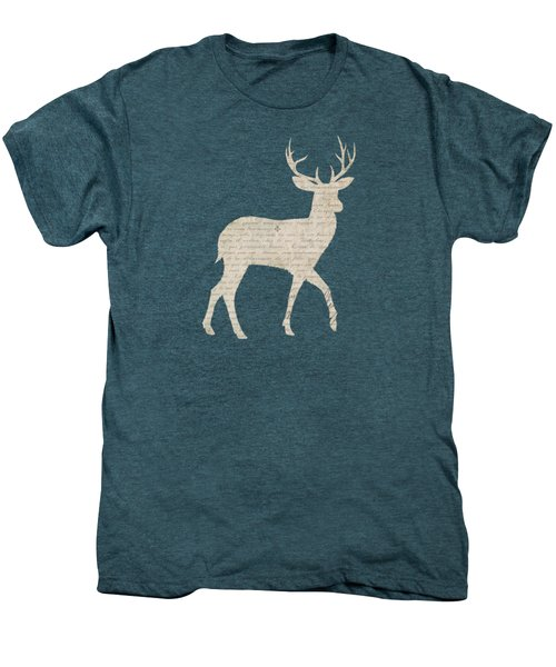 French Script Stag Men's Premium T-Shirt by Amanda  Lakey