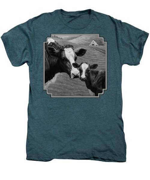 Holstein Cow Farm Black And White Men's Premium T-Shirt by Crista Forest