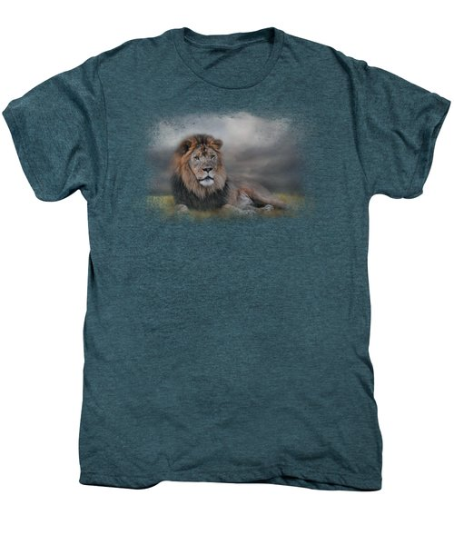 Lion Waiting For The Storm Men's Premium T-Shirt by Jai Johnson