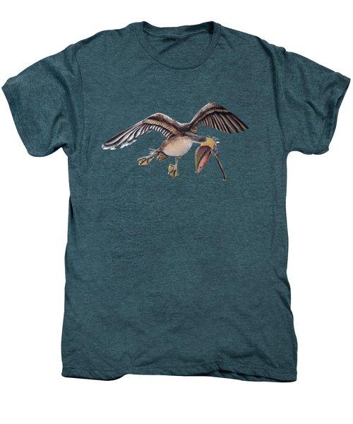 Pelican In Frantic Flight Men's Premium T-Shirt by Jennifer Rogers