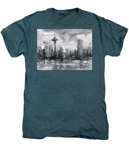 Seattle Skyline Painting Watercolor  Men's Premium T-Shirt by Olga Shvartsur