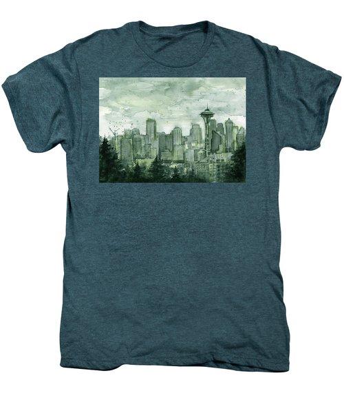 Seattle Skyline Watercolor Space Needle Men's Premium T-Shirt by Olga Shvartsur
