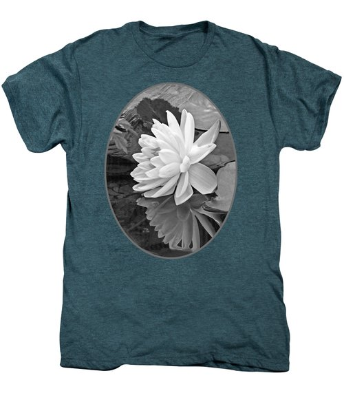 Water Lily Reflections In Black And White Men's Premium T-Shirt by Gill Billington