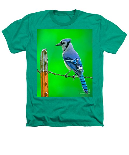 Blue Jay On The Fence Heathers T-Shirt by Robert Frederick
