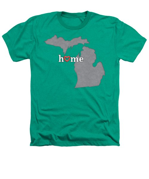 State Map Outline Michigan With Heart In Home Heathers T-Shirt by Elaine Plesser