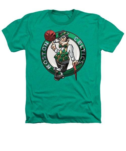 Boston Celtics - 3 D Badge Over Flag Heathers T-Shirt by Serge Averbukh