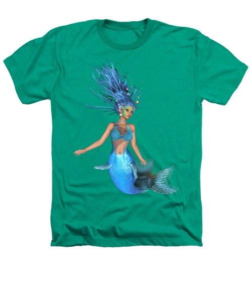 Mermaid Ruby Blue Heathers T-Shirt by Diane Leenknegt