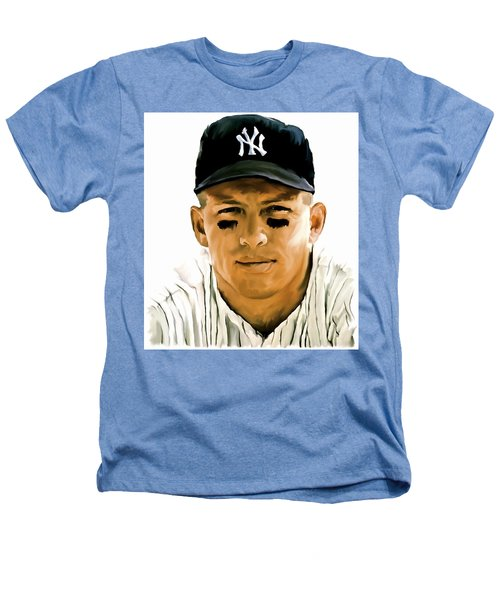 American Icon Mickey Mantle Heathers T-Shirt by Iconic Images Art Gallery David Pucciarelli