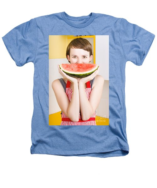Funny Woman With Juicy Fruit Smile Heathers T-Shirt by Jorgo Photography - Wall Art Gallery
