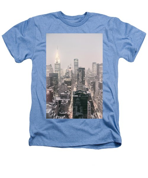 New York City - Snow Covered Skyline Heathers T-Shirt by Vivienne Gucwa