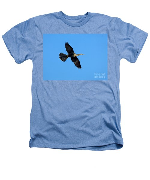 Anhinga Female Flying Heathers T-Shirt by Anthony Mercieca