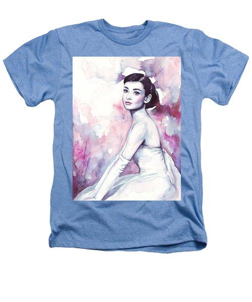 Audrey Hepburn Purple Watercolor Portrait Heathers T-Shirt by Olga Shvartsur