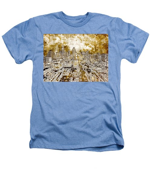 Austin Texas Abstract Panorama 6 Heathers T-Shirt by Bekim Art