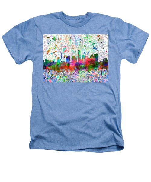 Austin Texas Abstract Panorama 7 Heathers T-Shirt by Bekim Art
