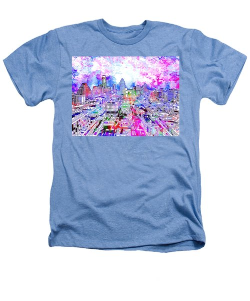 Austin Texas Watercolor Panorama Heathers T-Shirt by Bekim Art