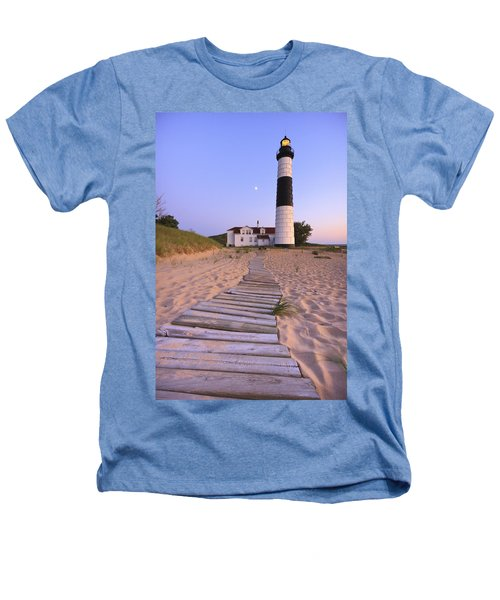 Big Sable Point Lighthouse Heathers T-Shirt by Adam Romanowicz