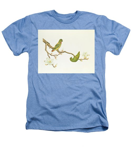 Blue Crowned Parakeet Hannging On A Magnolia Branch Heathers T-Shirt by Chinese School