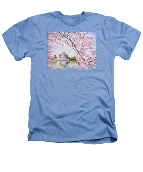 Jefferson Memorial Cherry Blossoms Heathers T-Shirt by Patty Kay Hall