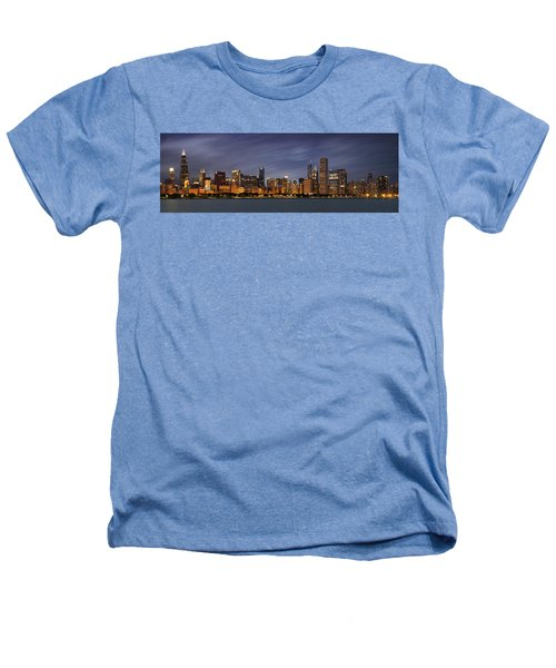 Chicago Skyline At Night Color Panoramic Heathers T-Shirt by Adam Romanowicz