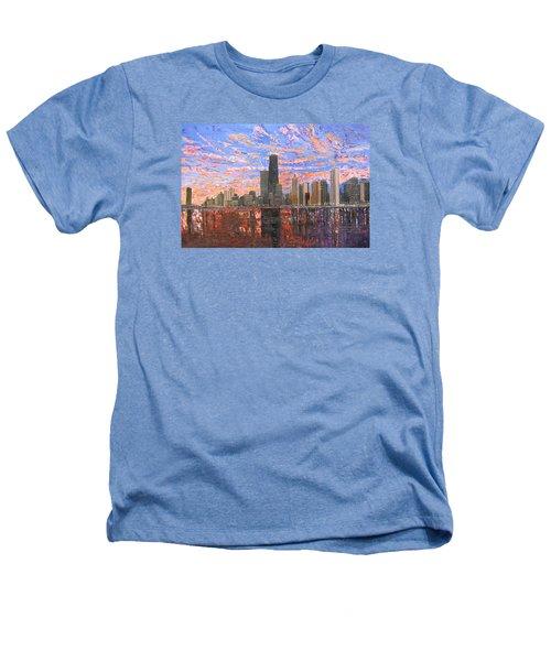 Chicago Skyline - Lake Michigan Heathers T-Shirt by Mike Rabe