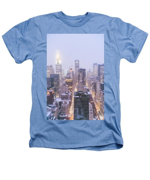 Chrysler Building And Skyscrapers Covered In Snow - New York City Heathers T-Shirt by Vivienne Gucwa