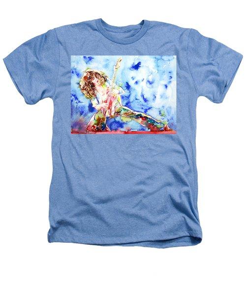 Eddie Van Halen Playing The Guitar.1 Watercolor Portrait Heathers T-Shirt by Fabrizio Cassetta