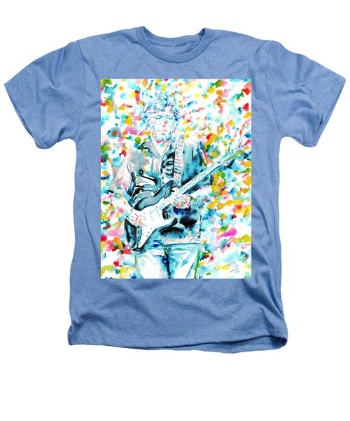 Eric Clapton - Watercolor Portrait Heathers T-Shirt by Fabrizio Cassetta