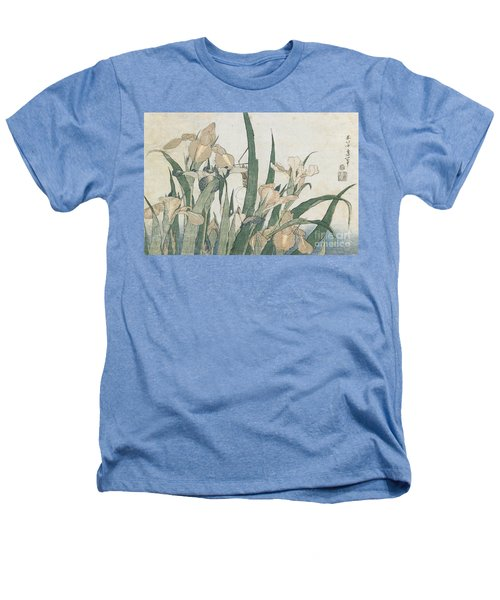 Iris Flowers And Grasshopper Heathers T-Shirt by Hokusai
