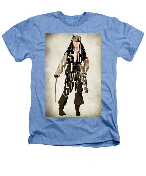 Jack Sparrow Inspired Pirates Of The Caribbean Typographic Poster Heathers T-Shirt by Ayse Deniz