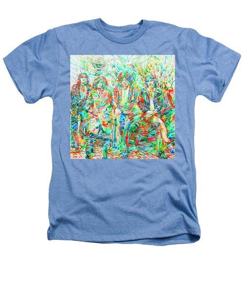 Led Zeppelin - Watercolor Portrait.1 Heathers T-Shirt by Fabrizio Cassetta