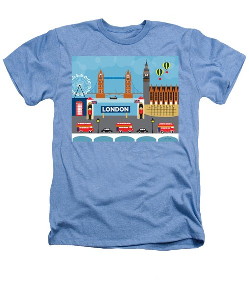 London England Skyline Style O-lon Heathers T-Shirt by Karen Young