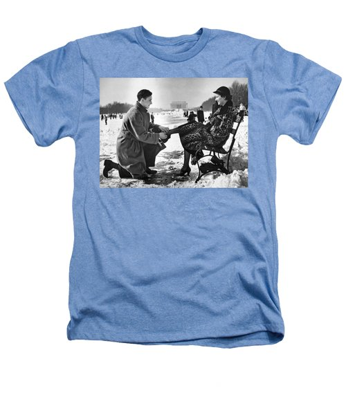 Man Lends A Helping Hand To Put On Skates Heathers T-Shirt by Underwood Archives