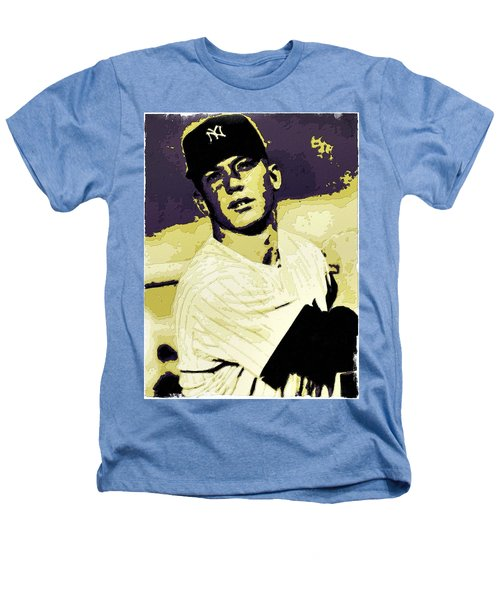 Mickey Mantle Poster Art Heathers T-Shirt by Florian Rodarte