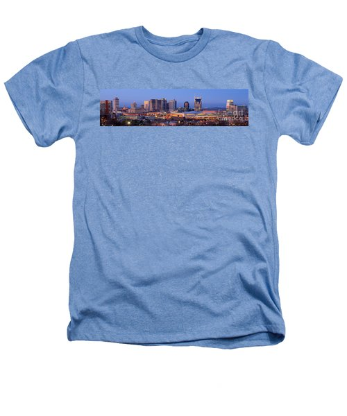 Nashville Skyline At Dusk Panorama Color Heathers T-Shirt by Jon Holiday